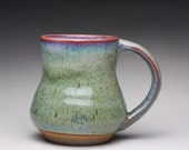 handmade ceramic mug, pottery tea cup, coffee cup with lavender blue and green wood ash glazes