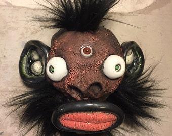 Ceramic Head ,  mixed media, puppet