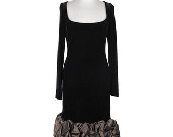 Authentic RENATO BALESTRA Vintage Velvet LONG sleeve dress ruffled hem