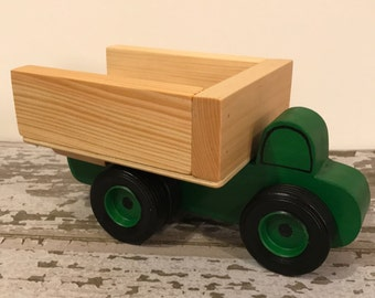 Toy Green Dump Truck with dual rear wheels - Handcrafted Wooden Toy Dump Truck Green - Toy Green Dump Truck Party Center Piece