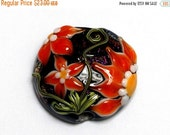 ON SALE 40% OFF New! 11838002 Clementine's Elegance Lentil Focal Bead - Handmade Glass Lampwork Bead
