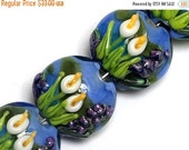 ON SALE 40% OFF Four Calla Lily Lake Lentil Beads 10413312 - Glass Lampwork Bead Set