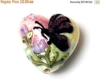 ON SALE 45% OFF Handmade Glass Lampwork Bead - Pink Sparkle Garden Butterfly Heart 11834805
