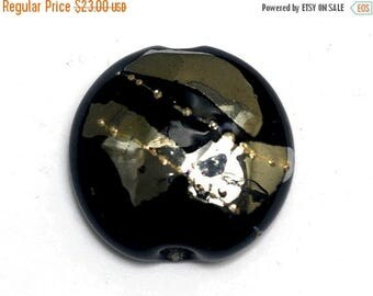 ON SALE 40% OFF Elegant Black Metallic Lentil Focal Bead - Silver - Handmade Glass Lampwork Bead 11819602