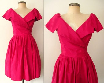 BE MINE Dress / 80s Vintage 50s style PINK Party Dress / Valentine Pink Party Dress