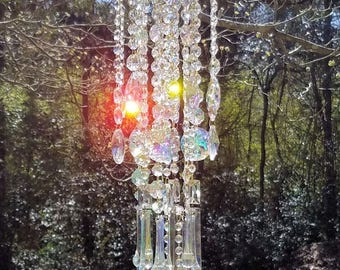 Antique Crystal Wind Chime, Aurora Borealis Crystal Wind Chime, Iridescent Crystal Chimes, Crystal Sun Catcher, Garden Decor, Home Decor