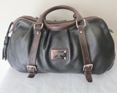 Valentina genuine thick buttery  leather Large Boston bag, doctors bag, satchel , dual handle work bag,  classic  style purse  vintage