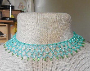 Netted Weave Beaded Choker Necklace in Light Teal Lime Green Adjustable Length OlyTeam