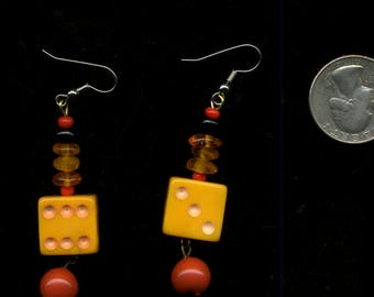 YELLOW DICE VinTaGe with Beads EARRINGS