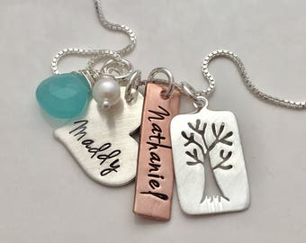 Family Tree necklace  - personalized necklace-  Mothers Necklace - grandma gift - Custom name necklace for mom - hand stamped jewelry