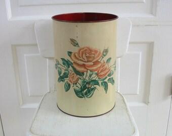 Vintage Floral Trash Can, Metal Trash Can, Metal Waste Basket, Pink Flowers Trash Can, Rose Trash Can, Shabby Cottage Chic Decor, Rose Waste