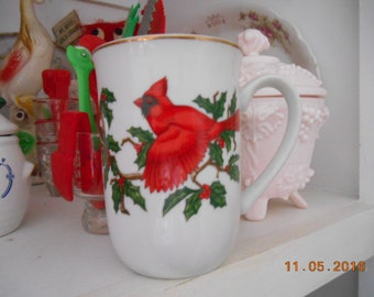 Vintage Porcelain Mug with Holly and Red Cardinal Bird