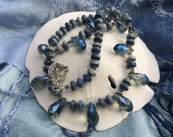 Handmade Dusky Blue Gemstone Necklace and Earring Set, Handmade Jewelry, Handmade Necklace and Earrings, Irish Expressions