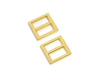 "50pcs - 3/4"" (20mm) Flat Diecast Slide Buckle - Gold - (FBK-105) - Free Shipping"