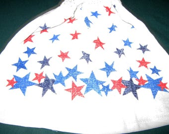 Crochet hanging towel, colored Stars, white top