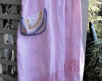 Pink Linen Skirt with Crepe Hem Ruffles/ Asymmetrical Hem/ Vintage Crochet Pocket/ Size 2X Linen Skirt/ Spring Pink Linen/ Sheerfab Funwear