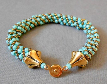 teal seed bead bracelet summer bracelet bead jewelry gold bracelet boho jewelry native american jewelry gift for her beaded bracelet