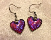 Vintage Sterling and Dragons Breath Heart Shaped Earrings For Pierced Ears. Beautiful Blue Pink Flashes Make These Eye Catching and Fun D6