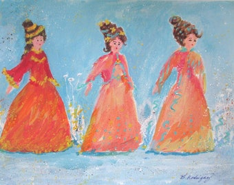 Original Painting * THREE LADIES * Whimsical Art By Rodriguez * Wall Hanging