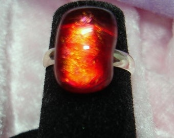 Red Gold Handmade Fused Dichroic Glass Cab Ring - R163