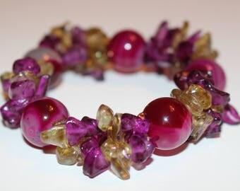 Royalty Bracelet Purple and Olive Green Glass Stretch Bracelet
