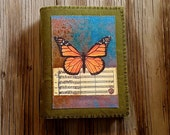 SALE monarch butterfly journal - distressed waxed green canvas vegan journal hope and peace journal