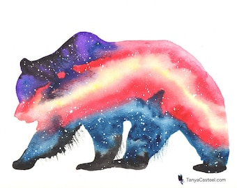 Grizzly Bear Spirit Animal ORIGINAL Watercolor 9X12