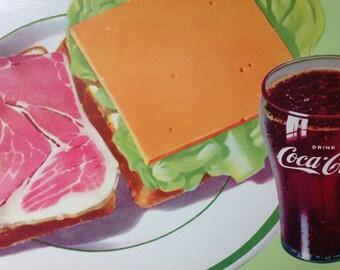 Coca- Cola Vintage Original Soda Fountain Sign - 1956 Ham and Cheese Sandwich Cardboard channel sign.