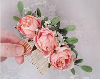 bridal hair comb, pink rose hair clip, floral hair accessories, bridal hair piece, bridal hair clip, pink hair flower, floral hair comb