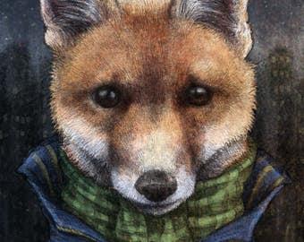 Urban Fox Art Print 10 x 8 Elspeth Rose Design Vixen Dog Animal Wildlife Art