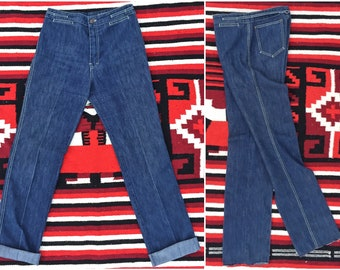 Vintage 1970s Hi Waist Denim Disco Flares | 11/12 | Jean St Germain High Waisted Retro Stovepipe Blue Jeans | vtg APPAREL | FOUND by LB