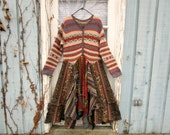 Shetland Wool Southwestern Reconstructed Prairie Sweater Dress// Upcycled// XL 1X Plus Sizes// Multi Colored// emmevielle
