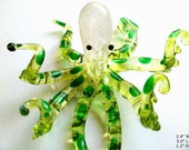 Green OCTOPUS Hand-Blown Painted Art Glass Animal Figurine Statue Collectible Gifts Octopus Glass figurine Ocean Marine OCTOPUS FIGURINE