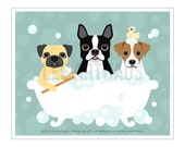 64F Dog Prints - Pug Boston Terrier and Jack Russell Terrier in Bathtub Wall Art - Three Dogs Print - Bathroom Decor - Funny Dog Picture
