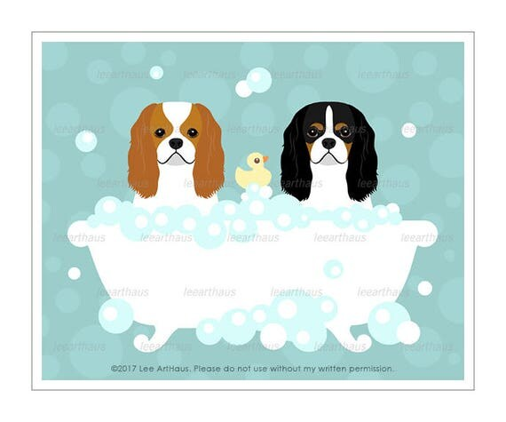 294D Dog Gifts - Two Cavalier King Charles Spaniel Dogs in Bathtub Wall Art - King Charles Dog Print - King Charles Spaniel Decor - Dog Art