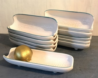 ceramic corn trays - Pfaltzgraff Juniper white corn on the cob serving dishes