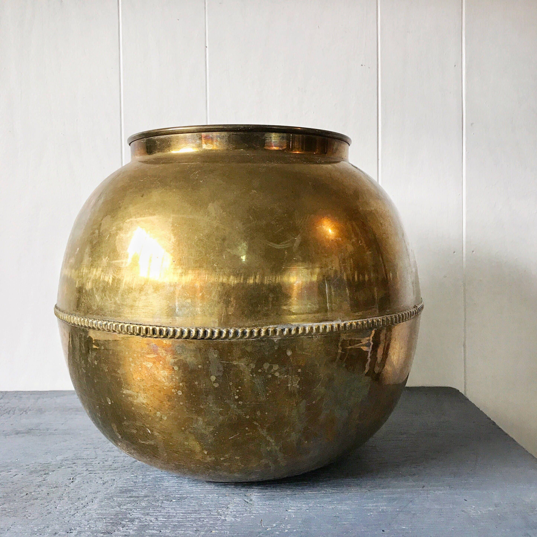 Vintage brass planter large round metal ball vase moroccan vintage brass planter large round metal ball vase moroccan boho pot reviewsmspy
