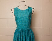Vintage 1950's 1960's Teal Floral Cotton Dress S