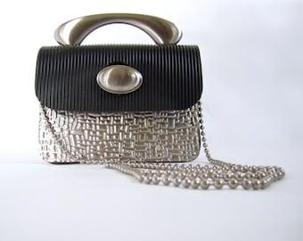 FANTASTIC and unique vintage 1980's 1990's metal and rubber mini box purse INDUSTRIAL avant garde cross body petite handbag
