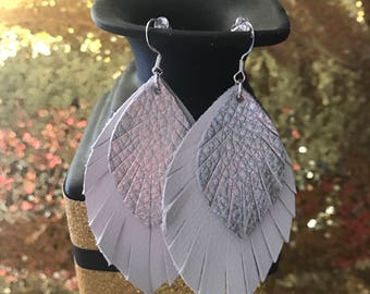 White and silver Leather earrings