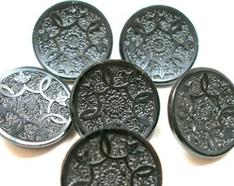 """6 Antique GLASS buttons,  Edwardian flowers & leaves on black glass, 7/8""""."""