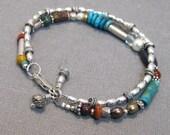 2 strand beaded bracelet, sterling silver, multiple gemstones, and pearl, boho bracelet in sterling silver, turquoise