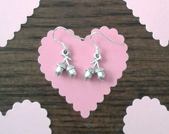 Tibetan Silver Double Acorn Charm Earrings with Sterling Silver Ear Wires