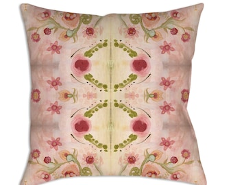 Shabby Chic Throw Pillow Pink Boho Pillow Watercolor Pillow Floral Pink Painted Pillow Art Abstract Cushion Art Floral Painted Throw Pillow