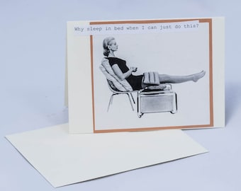 Don't Need No Bed. Vintage Greeting Card