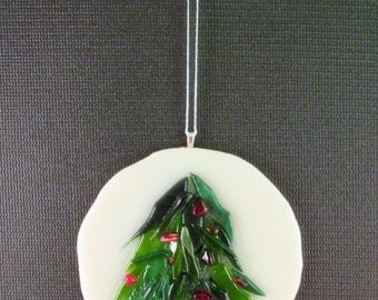 Fused Glass Rustic Tree with Berries Ornament
