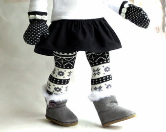 Fair Isle Knit Socks and Mittens, 18 inch Doll Socks, 18 inch Doll Mittens, Thigh High Stockings, Matching Mittens