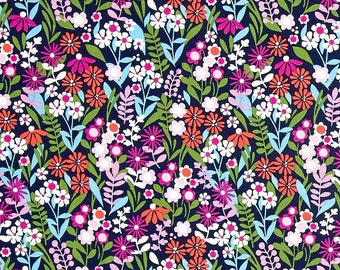 Saturday Morning Fresh Flowers Navy by Michael Miller Fabrics 100% Quilters Cotton Available in Fat Quarter, Half Yard, Yard