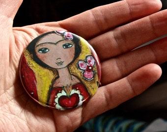 Frida and her Sacred Heart -  Pocket Mirror - Original Art by Flor Larios