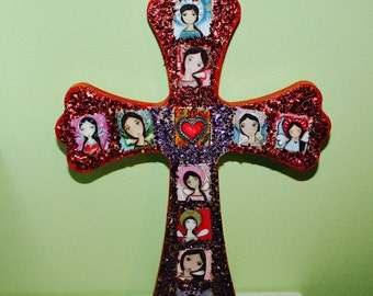 Angels - Red Wall Cross Retablo Style Mixed Media Art by FLOR LARIOS